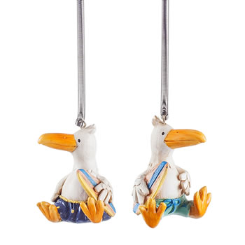 Image of Albie & Ross the Surfer Albatross Ornament Set on Springs