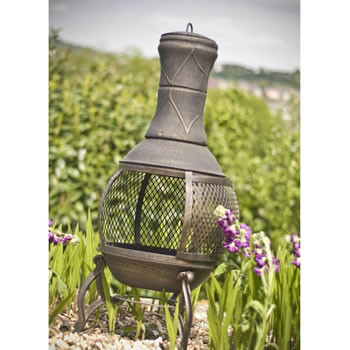 Image of Bronze Mesh Cast Iron Chiminea Chimenea 90cm High