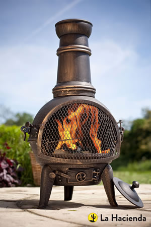 Image of Bronze 85cm Cast Iron/steel Chimnea Patio Heater/cooking Bbq Grill Fire Chiminea