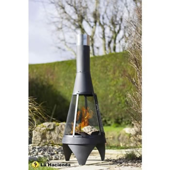 Image of La Hacienda Medium Mesh Colorado Black Steel Chiminea Patio Heater