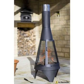 Image of La Hacienda Extra Large Mesh Colorado Black Steel Chiminea Patio Heater