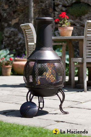 Image of La Hacienda Leon Medium Mesh Bronze effect Chimenea Chiminea Patio Heater