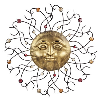 Image of Large Golden Sun Design Metal Garden or Home Wall Art with Coloured Stones