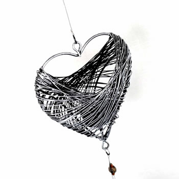 Image of Grey Wire Heart Shaped Hanging Tea Light Holder