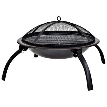 Image of La Hacienda Camping Firebowl with Grill and Folding Legs - Black