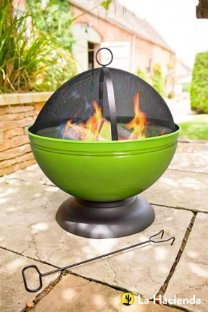 Image of La Hacienda Lime Green Globe Enamelled Firepit & Grill Patio Heater Wood Burner