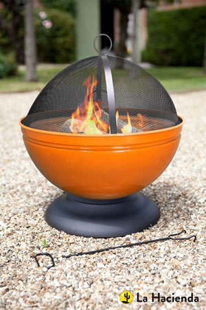 Image of La Hacienda Orange Globe Enamelled Firepit & Grill Patio Heater Wood Burner