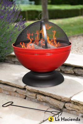 Image of La Hacienda Red Globe Enamelled Firepit & Grill Patio Heater Wood Burner