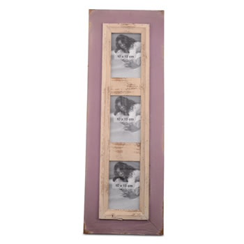 Image of Wall Mountable Distressed Lilac Wood Triple Portrait Photo Frame