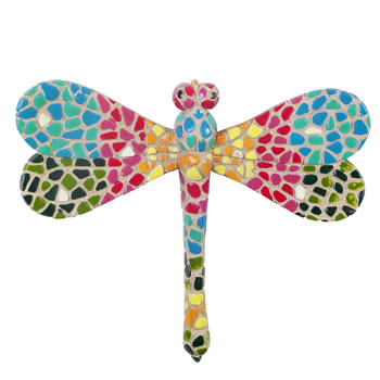 Image of Multi-coloured Mosaic Finish Dragonfly Wall Mountable Insect Garden Ornament