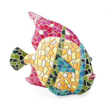 Image of Brightly Coloured Mosaic Fish Garden or Home Ornament with Pink Fin
