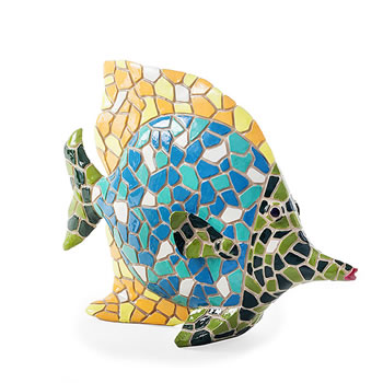 Image of Brightly Coloured Mosaic Fish Garden or Home Ornament with Yellow Fin