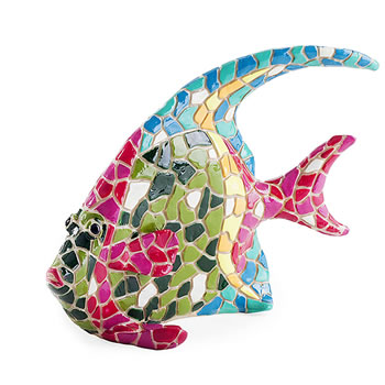 Image of Brightly Coloured Mosaic Fish Garden or Home Ornament with Blue Fin