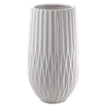 Image of 'Silvan' Large White Pleated Stoneware Vase Ornament for the Home