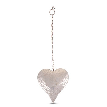 Image of Large Silver Mosaic Mirror Heart Garden Wind Spinner / Hanger