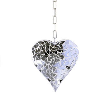 Image of Hanging Silver Mirror Mosaic Heart Ornament for Garden or Home