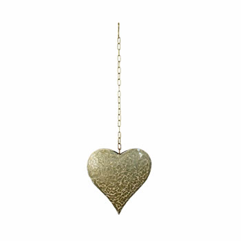 Image of Large Hanging Gold Mosaic Heart Ornament for Home or Garden
