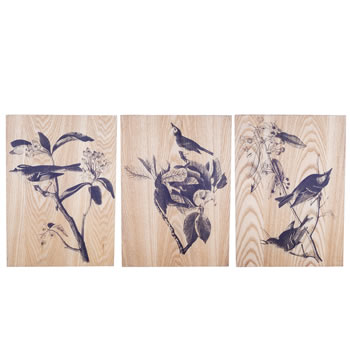 Image of 'Bird Life' Decorative Wooden Home Wall Art Trio