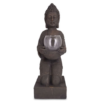 Image of Large Detailed Stone Look Resin Buddha Tea Light Holder for Home or Garden