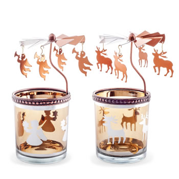 Image of Set of Two Copper Finish Metal & Glass Carousel Christmas Tea Light Holders with Angels & Reindeer