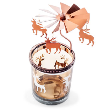 Extra image of Copper Metal & Glass Carousel Christmas Tea Light Holder - Reindeer