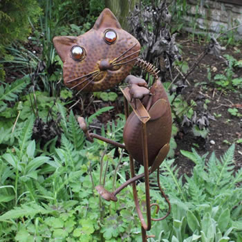 Extra image of Rocking Metal Cat Garden Ornament Feature