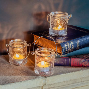 Extra image of 'Louis' Fleur-de-Lys Glass Tealight Votive Holder Trio Set