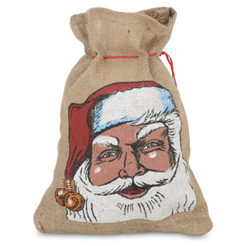 Image of Small Hessian Drawstring Father Christmas Sack Gift Bag