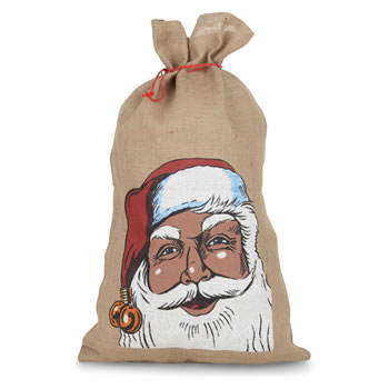 Image of Large Hessian Jute Drawstring Father Christmas Sack Gift Bag
