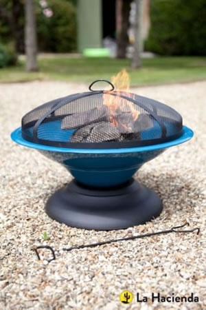 Image of La Hacienda Blue Moda Enamelled Firepit Patio Heater Wood Burner