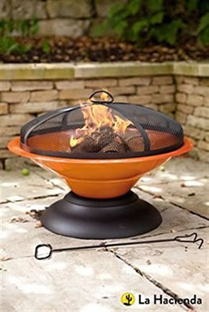 Image of La Hacienda Orange Moda Enamelled Firepit Patio Heater Wood Burner