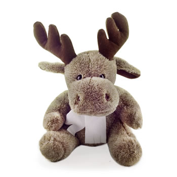 Image of George the Soft Brown Cute Sitting Fluffy Christmas Reindeer Toy