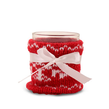 Image of Red Knitted Christmas Pattern Covered Glass Tealight Holder