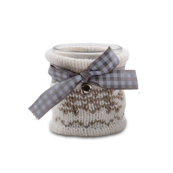 Image of Small Glass Christmas Tealight Holder with Cream Coloured Knitted Winter Cosy