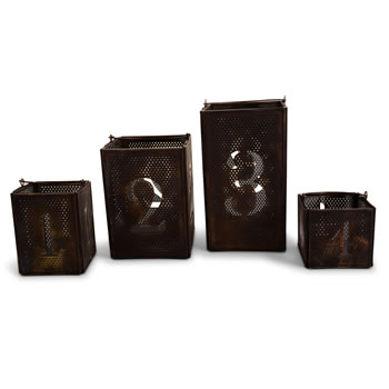 Image of Antique Finish Advent Numbered Metal Lantern Set for Christmas