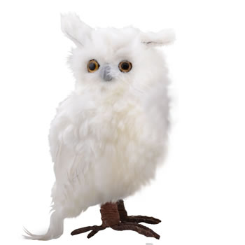 Image of Large Right Facing White Fluffy Feathered Owl Christmas Ornament