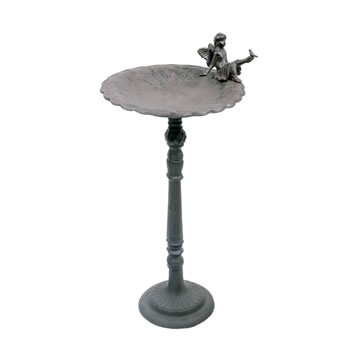 Image of Large Freestanding Cast Iron Garden Fairy Bird Bath / Feeder