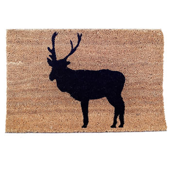 Image of Contemporary Reindeer Silhouette Christmas Coir Doormat