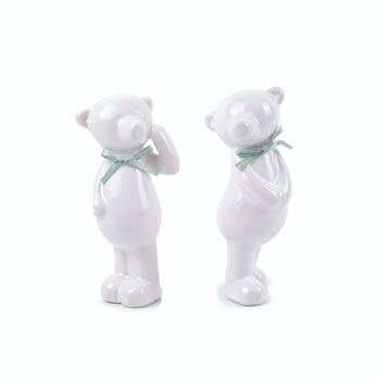Image of Standing Pair of Ceramic Bear Christmas Ornaments with Ribbon Detail