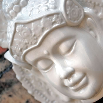 Extra image of White Ceramic Ornamental Buddha Head Wall Art