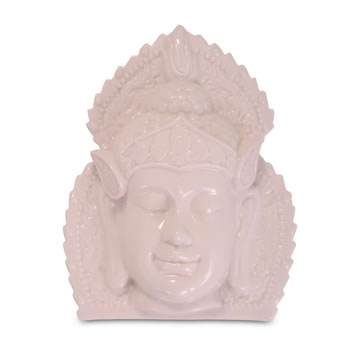 Image of White Ceramic Ornamental Buddha Head Wall Art