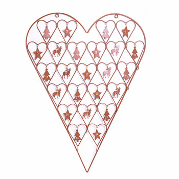 Image of Large Rusty Brown Coloured Metal Heart Advent Calendar