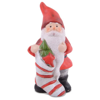 Image of Cute Terracotta Father Christmas with Stocking Ornament