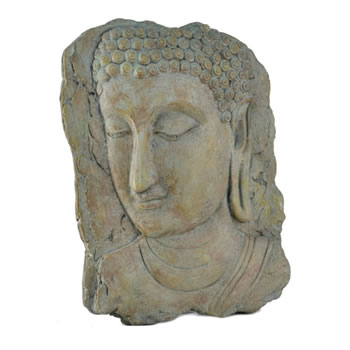 Image of Aged Stone Look Resin Portrait Buddha Wall Art Garden Plaque