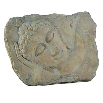 Image of Aged Stone Look Resin Landscape Sleeping Buddha Wall Art Garden Plaque