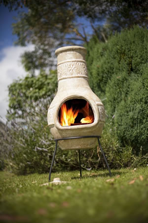 Image of La Hacienda Straw Colour Chiminea with Star Flower Design Patio Heater
