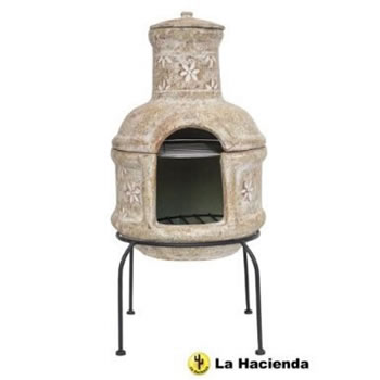 Image of La Hacienda Clay Chiminea Star Flower With Bbq Grill