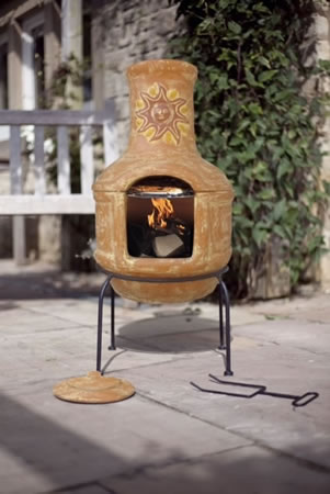 Image of Clay Sunset Pizza Chiminea With BBQ Grill Patio Heater Wood Burner