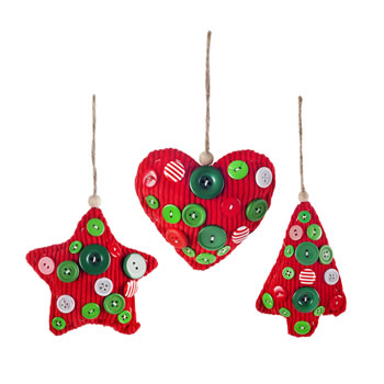 Image of Set of Three Red Fabric & Button Christmas Tree Decorations