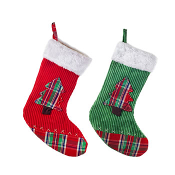 Image of Set of Two Red & Green Fabric Christmas Stockings